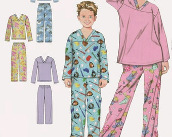 OOP Easy to Sew Girls/Boys Pajamas Pants and Top Simplicity 2326 Size XS-L Uncut