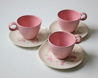 3 set of pink cup and saucers modern tea party