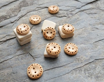 Set of Handmade Polymer Clay Dotted Tan Buttons