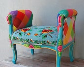 Rainbow Bench Bohemian Vanity Chair Embroidered Flower Power Vanity Stool Boho Furniture Vintage Embroidery Crocheted Flowers and Leaves