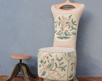 chair valet stand. butler chair embroidered clothes stand valet vanity stool wooden furniture vintage embroidery - made to