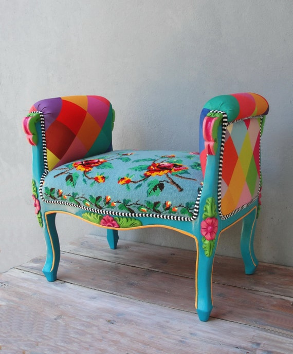 Rainbow Bench Bohemian Vanity Chair Embroidered Flower Power