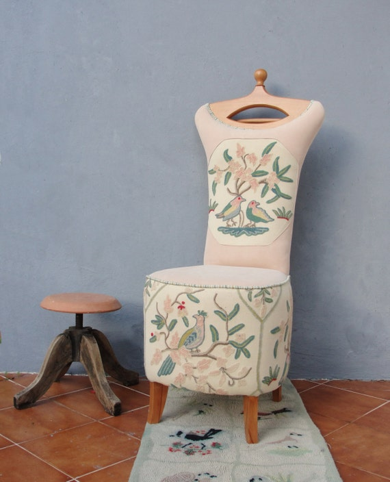Butler chair embroidered clothes stand valet stand vanity stool wooden