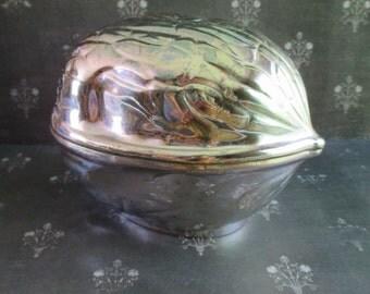 Vintage Metal Walnut Trinket Dish