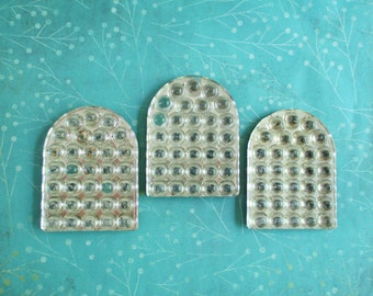 Three Vintage Glass Tombstone Bubble Reflectors