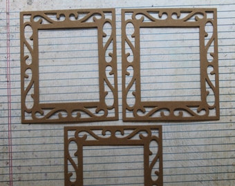 3 Bare chipboard Fancy Scroll Rectangle Frame Die cuts approx 4 1/8 inches x 4 7/8 inches