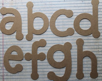 4 inch DOT lowercase bare chipboard alphabet set 26 pieces one of each letter
