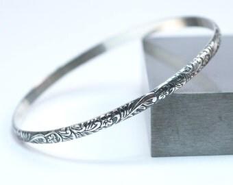 Sterling Silver Floral Bangle Bracelet / Handmade Bangle Bracelet / Silver Stacking Bracelet