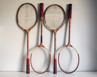 1930s Wood Badminton Rackets Four Sportcraft Racquets Vintage Sports Gear Pakistan Man Cave Decor Gameroom Outdoor Lawn Games Wall Art