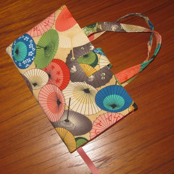 Paperback Fabric Book Cover Asian Japanese Parasol Design STANDARD SIZE