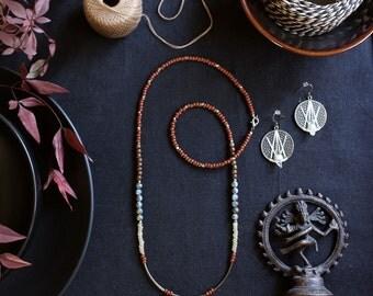 Beaded Necklace, Single Strand Necklace, Long Beaded Necklace, Czech Glass Beads, Minimalist, Rust, Brass Beads, Boho Jewelry