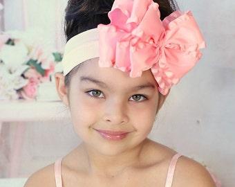jumbo hair bows, Easter headband, double ruffle hair bows, pink baby headband, pageant wear, large headbands, hair bows for teens, hairbows