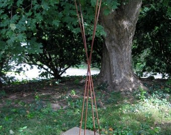 Twist Series Freestanding welded steel Bird Feeder - Natural rust patina finish with patina copper roof