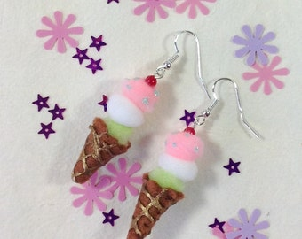 Ice Cream Cone Pom Pom Earrings