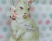 Happy Easter Ornament Shabby Bunny PINK flowers fuzzy tail