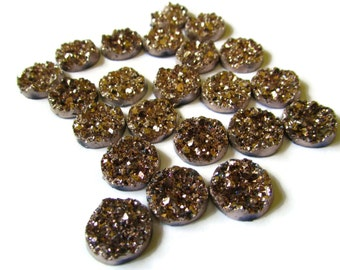 20 Bronze Rose Gold Faux Druzy Cabochons 12mm Resin Druzy Cabochons