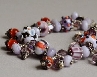 Grape Splash Lampwork, Crystal and Sterling Bracelet by Happy Shack Designs