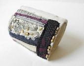 Boho Cuff  Bracelet ~ Beaded Fabric Hippie Bracelet ~ Hand Stitched Cotton Bracelet ~ Eco Friendly Bohemian Jewelry by Luluanne ~ ON SALE
