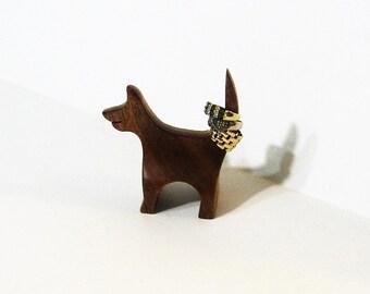 Dog Ring Holder Made Of Mahogany And Oak Wood
