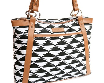 Laptop Bag in Black and White Tribal Print - Aztec Print Laptop Bag, Laptop Tote, Canvas and Tan Camel Colored Vegan Leather