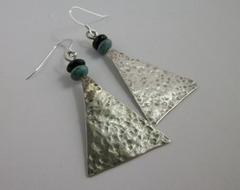 Hammered sterling silver triangle earrings with turquoise- rustic sterling silver jewelry- BIG sterling silver earrings- dangle earrings