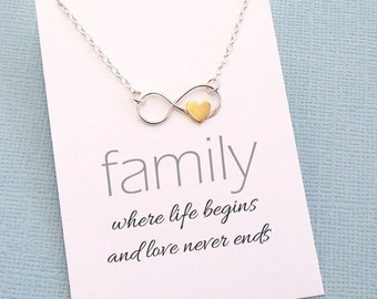 Infinity Heart Necklace | Family Necklace, Family Gift, Gift for Mom, Gifts for Mom, Gift Ideas for Mom, Gift for Moms | Silver | FA02