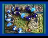 Aegean Sea Life Spiral, Beautiful ocean blues, tribal and artisan beads