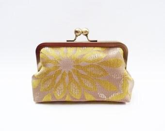 Clutch bag, yellow and beige decorative clutch, evening purse