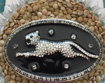 Women's handmade belt buckle with rhinestones and panther