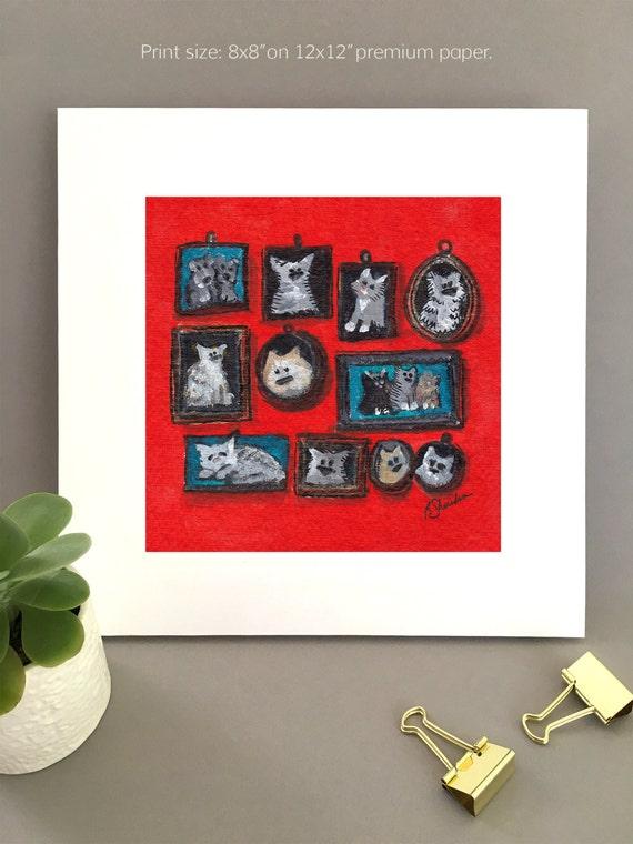 Multiple pet portraits painting  whimsical art,  animal lovers art  Giclée print Bernadette Artwork, art for my house