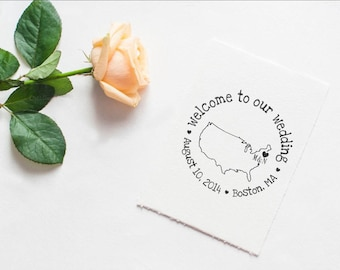 Clear Block Welcome to our wedding rubber stamp custom personalized monogramed stamps with Map