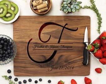 Personalized Cutting Board, Custom Cutting Board, Engraved Cutting Board, Monogram Name Anniversary Wedding Walnut Wood --21030-CUTB-002