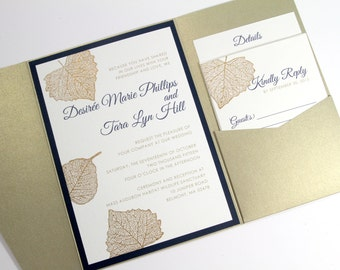 Falling Leaves Pocketfold Invites, Hand Stamped, Wedding Invitations, Autumn Invites, Nature, Woodland Wedding, Gold Leaf, Copper, Weddings