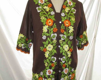 Brown 70s Vintage Embroidered blouse Orange Yellow flowers Green leaves 70s Peasant blouse vintage Boho Top 70s floral embroidery shirt S