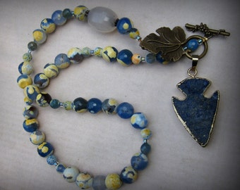 Yellow and Blue Agate Necklace with Lapis Lazuli Arrowhead Pendant