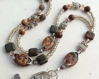 Beaded ID Badge Lanyard - Woodland Owls, Cherry Creek Jasper, Faceted Crystals, Silver Tone