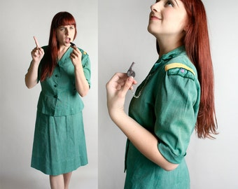 Vintage 1960s Girl Scouts Leader Outfit - Blouse and Skirt - Whistle - Troop Leader - Mint Green Cotton - Halloween Costume - Medium