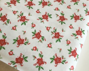 Christmas fabric, Pixie Noel fabric, Holiday fabric, Tasha Noel by Riley Blake, Cotton fabric, Pixie Floral in White,  Choose the cut
