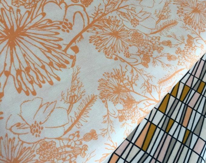 SALE fabric, Modern fabric, Hipster, Floral fabric, Orange fabric, Low Volume, Stripe fabric, Art Gallery, Bundle of 2- Choose the Cut