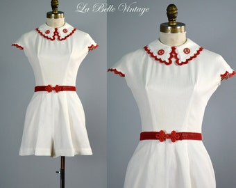 Louella Ballerino Vintage 1940s Playsuit ~ Aye Aye Captain ~ Collectible Nautical Beach Romper
