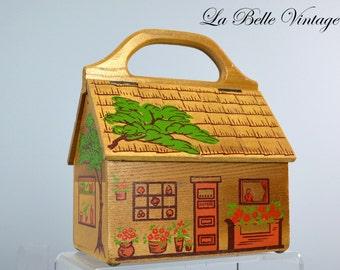 The Cottage Handbag ~ Vintage Gary Gail of Dallas House Purse ~ Novelty Hand Painted Box Bag