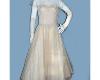 VIntage 1950's Peach Tulle Prom Party Dress