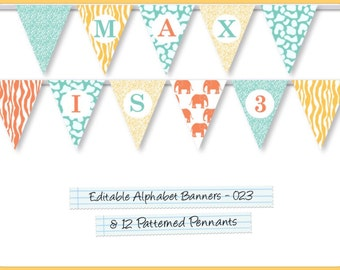 Editable Printable Banner Pennants Alphabet Garland For Parties/Celebrations, Happy Birthday Banner, Wedding Banner, Welcome Home AB-023-EP