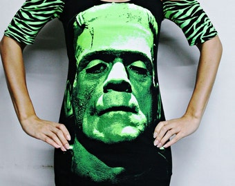 Frankenstein shirt tunic top classic horror clothing alternative gothic goth spooky apparel reconstructed