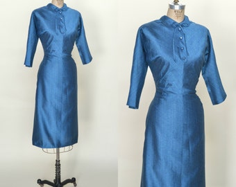 1940s Blue Day Dress --- Vintage Blue Dress