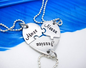 Personalized Necklace, 3 Best Friends puzzle piece necklace set, Hand Stamped Names Necklace - custom jewelry, gift for friends
