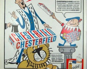 Chesterfield King Jester and Lion Pan American Vintage Advertising Cigarette Ads Wall Art Decor E117