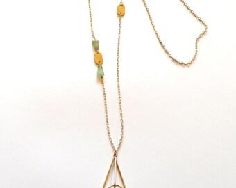 Long Gold Green Necklace / Long Gold Geometric Necklace Statement Necklace / Long Gold Necklace with Green Striped Jasper Gemstones