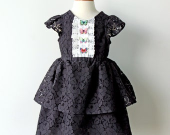 Tuxedo Butterfly Lace Dress, Little Black Dress for Toddler & Girl
