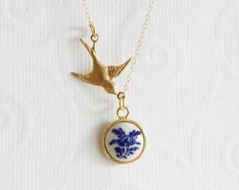 Vintage Dutch Necklace Delft Dutch Pendant Mother's Gift